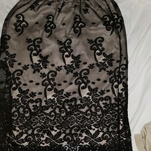 Black lace with creme underskirt